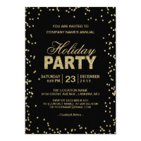 Corporate Holiday Party   Trendy Gold Glitter Dots Card