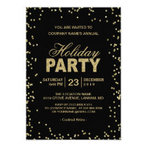 Corporate Holiday Party | Trendy Gold Glitter Dots Card