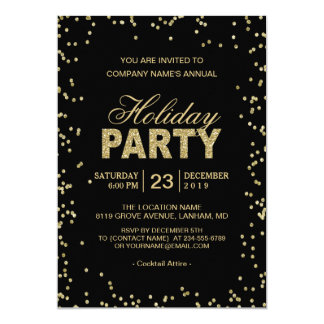 Perfect Corporate Holiday Party | Trendy Gold Glitter Dots Card To Corporate Party Invitation Template