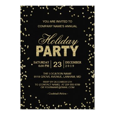 CardHunter Corporate Holiday Party | Trendy Gold Glitter Dots Card
