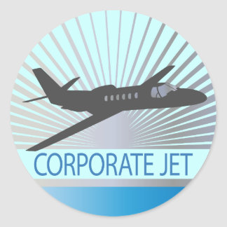 Corporate Jet Aircraft Classic Round Sticker