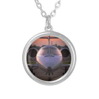 Corporate Jet Plane Travel Round Pendant Necklace