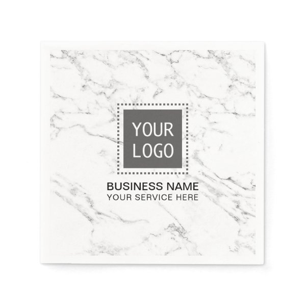 Corporate Logo Modern White Marble Business Office Paper Napkin