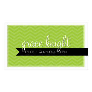 CORPORATE modern simple chevron bright lime green Double-Sided Standard Business Cards (Pack Of 100)