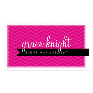 CORPORATE modern simple chevron hot magenta pink Double-Sided Standard Business Cards (Pack Of 100)