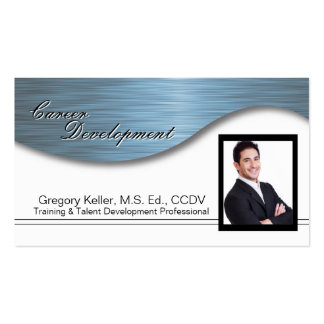 Corporate Photo Business Card - Professional Blue