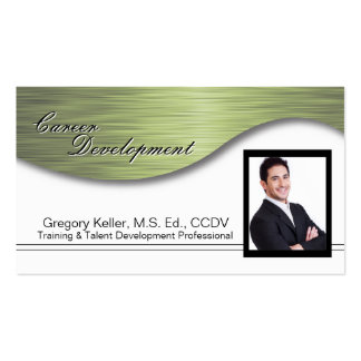 Corporate Photo Business Card - Professional Green