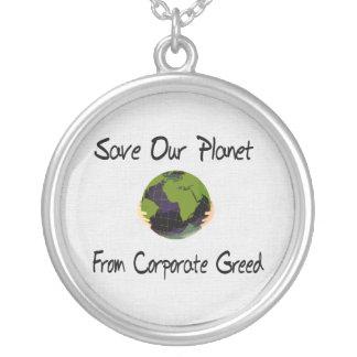 Corporate Planet Round Pendant Necklace