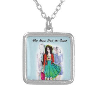 Corporate Princess Square Pendant Necklace