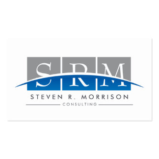 Corporate Professional Stylized Monogram Gray/Blue Pack Of Standard Business Cards