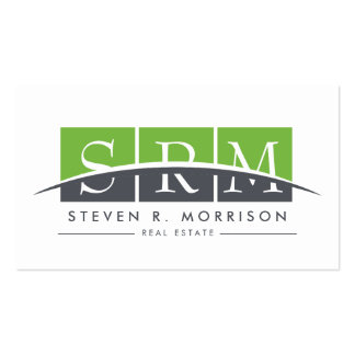 Corporate Professional Stylized Monogram Green Pack Of Standard Business Cards