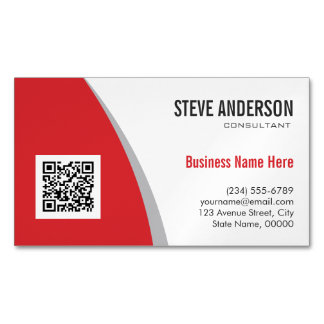Corporate QR Code Logo - Modern Classy Hot Red Magnetic Business Cards (Pack Of 25)