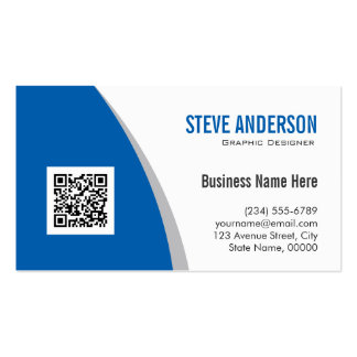 Corporate QR Code Logo - Modern Stylish Navy Blue Double-Sided Standard Business Cards (Pack Of 100)