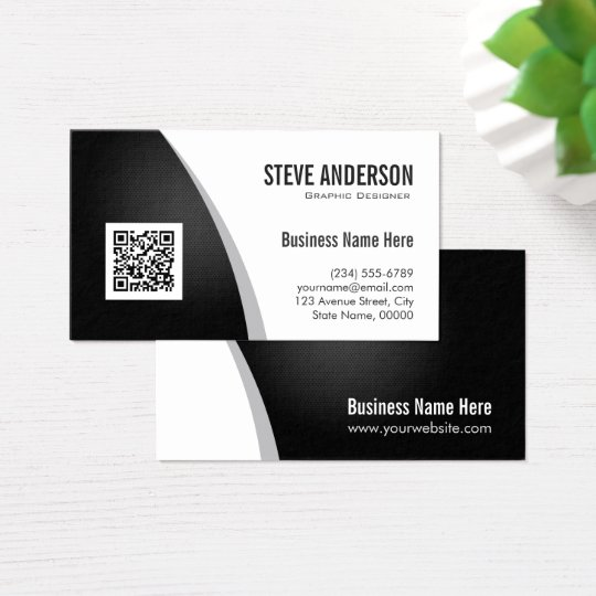 corporate qr code logo professional black white business card