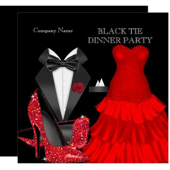 Corporate Red Black Tie Dinner Party Invitation   Zazzle.com