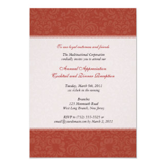 Corporate Red Damask Card