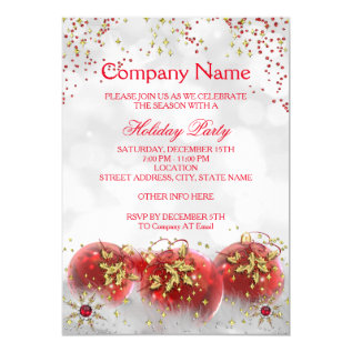 Corporate Red Gold White Christmas Holiday Party Card at Zazzle
