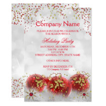 Corporate Red Gold White Christmas Holiday Party Invitation