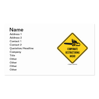 Corporate Restructuring Ahead (Warning Sign) Business Card