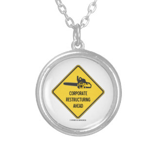Corporate Restructuring Ahead Yellow Diamond Sign Round Pendant Necklace