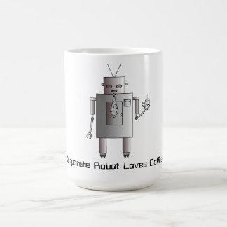 Corporate Robot Loves Coffee, Retro Vintage Robot Classic White Coffee Mug