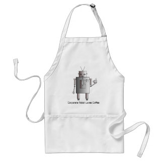 Corporate Robot Loves Coffee, Vintage Retro Funny Aprons