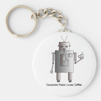 Corporate Robot Loves Coffee, Vintage Retro Funny Key Chains