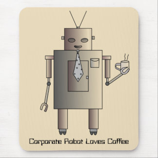 Corporate Robot Loves Coffee, Vintage Retro Funny Mouse Pad