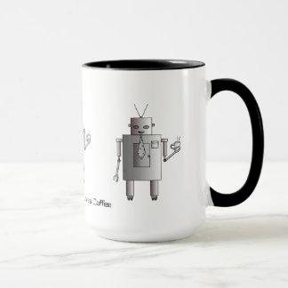 Corporate Robot Loves Coffee, Vintage Retro Funny Mug