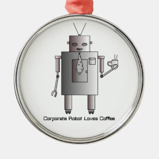 Corporate Robot Loves Coffee, Vintage Retro Funny Christmas Ornament