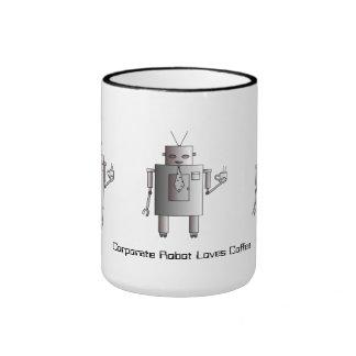 Corporate Robot Loves Coffee, Vintage Retro Funny Ringer Coffee Mug