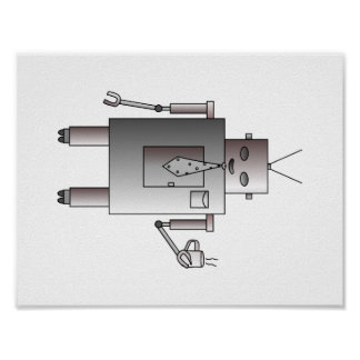 Corporate Robot Loves Coffee, Vintage Retro Robot Poster