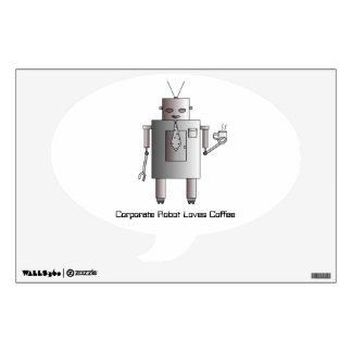Corporate Robot Loves Coffee, Vintage Retro Robot Wall Sticker