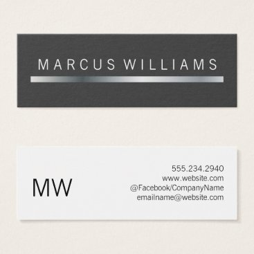 Lawyer Themed corporate Silver Bar Accent Mini Business Card