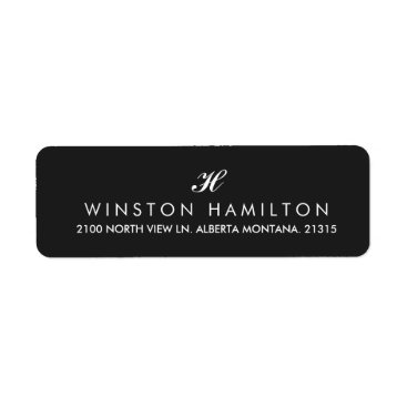 Professional Business Corporate Style Black Return Address Label