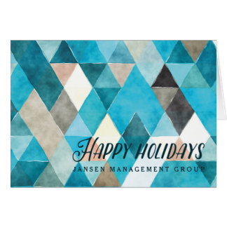 Corporate Style Geometric Watercolor Blue Card