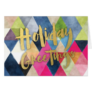 Corporate Style Geometric Watercolor Holiday Card