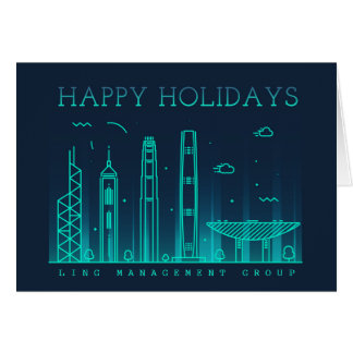 Corporate Style Hong Kong Skyline Holiday Card
