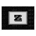 Corporate Thank You Template Card, Black and White Stationery Note Card