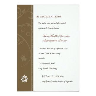 "Corporate Vines Chestnut Brown 5"" X 7"" Invitation Card"