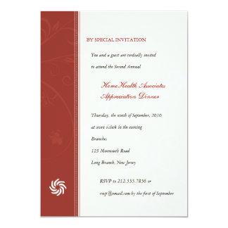 "Corporate Vines Scarlet 5"" X 7"" Invitation Card"
