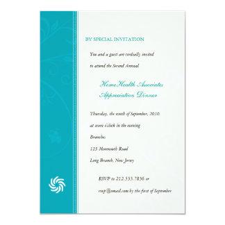 "Corporate Vines Turquoise 5"" X 7"" Invitation Card"