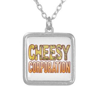 Corporation Blue Cheesy Square Pendant Necklace