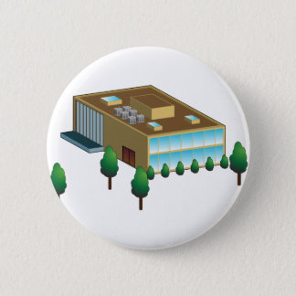 Corporation Business Building Icon Pinback Button