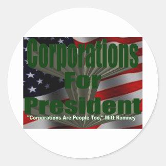 Corporations 4 President Classic Round Sticker
