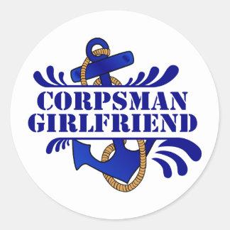 Corpsman Girlfriend, Anchors Away! Classic Round Sticker