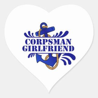 Corpsman Girlfriend, Anchors Away! Heart Sticker