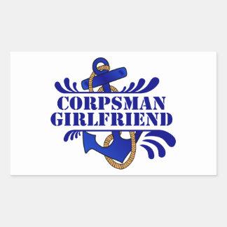 Corpsman Girlfriend, Anchors Away! Rectangular Sticker
