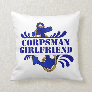 Corpsman Girlfriend, Anchors Away! Throw Pillow