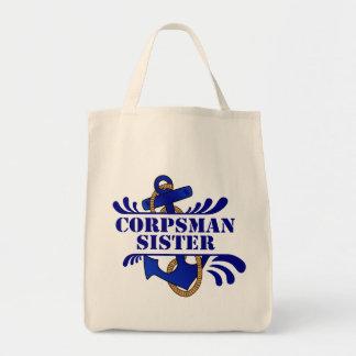 Corpsman Sister, Anchors Away! Canvas Bags
